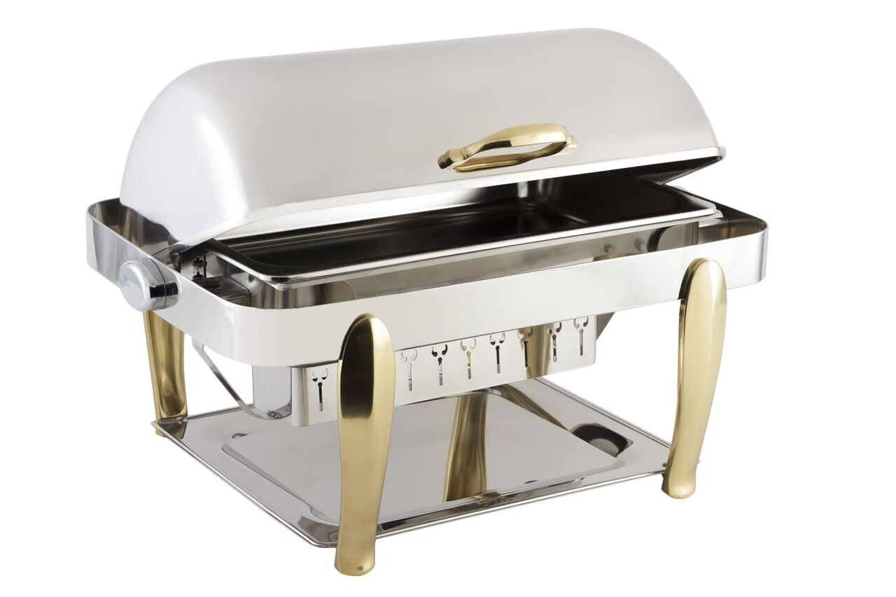 Bon Chef 10040S Manhattan Silver Plated Rectangular Roll Top Chafer 8 Qt..