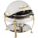 Bon Chef 12014G Petite Dripless Round Roll Top Chafer with Gold Plated Accents, Aurora Legs, 3 Qt.