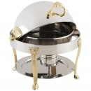 Bon Chef 17014G Petite Dripless Round Chafer with Gold Accents, Renaissance Legs, 3 Qt.