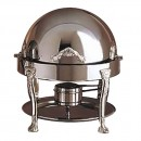 Bon Chef 17014S Petite Dripless Round Chafer with Steel Silver Plated Accents, Renaissance Legs, 3 Qt.