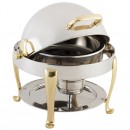 Bon Chef 19014G Petite Dripless Round Chafer with Gold Plated Accents and Roman Legs, 3 Qt.