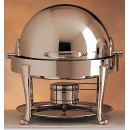 Bon Chef 19014S Petite Dripless Round Silver Plated Finish Chafer with Roman Legs, 3 Qt.