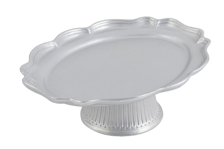 """Bon Chef 20249059P Queen Anne Pedestal Platter, Pewter Glo 10 7/8"""" x 14 3/4"""" x 4"""""""