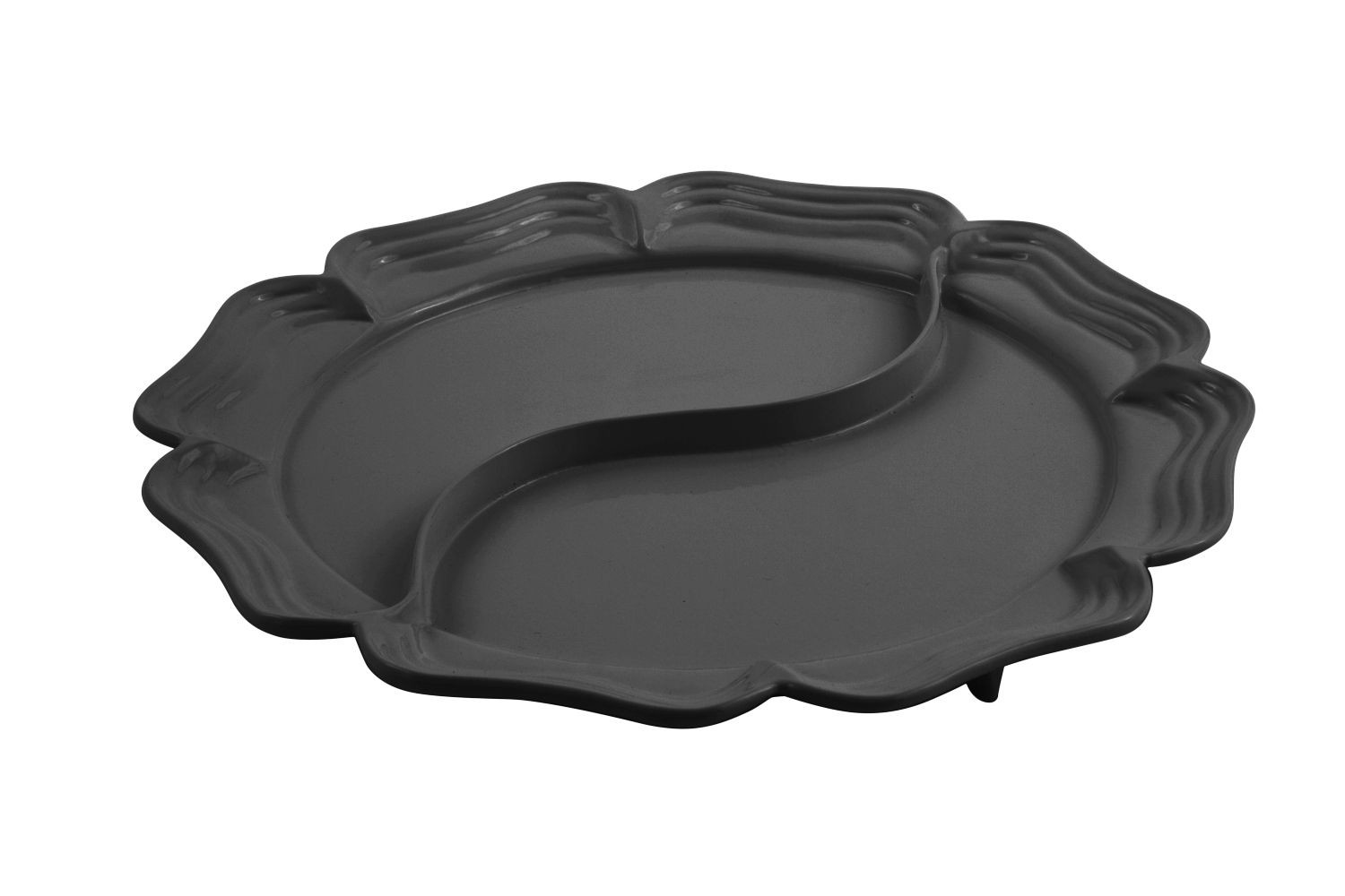 "Bon Chef 2036DP Queen Anne Divided Platter, Pewter Glo 15 3/4"" Dia."