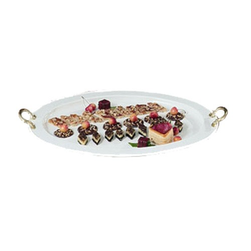 "Bon Chef 2047BH&LP Oval Serving Tray with Handles, Pewter Glo 18"" x 24 3/4"""