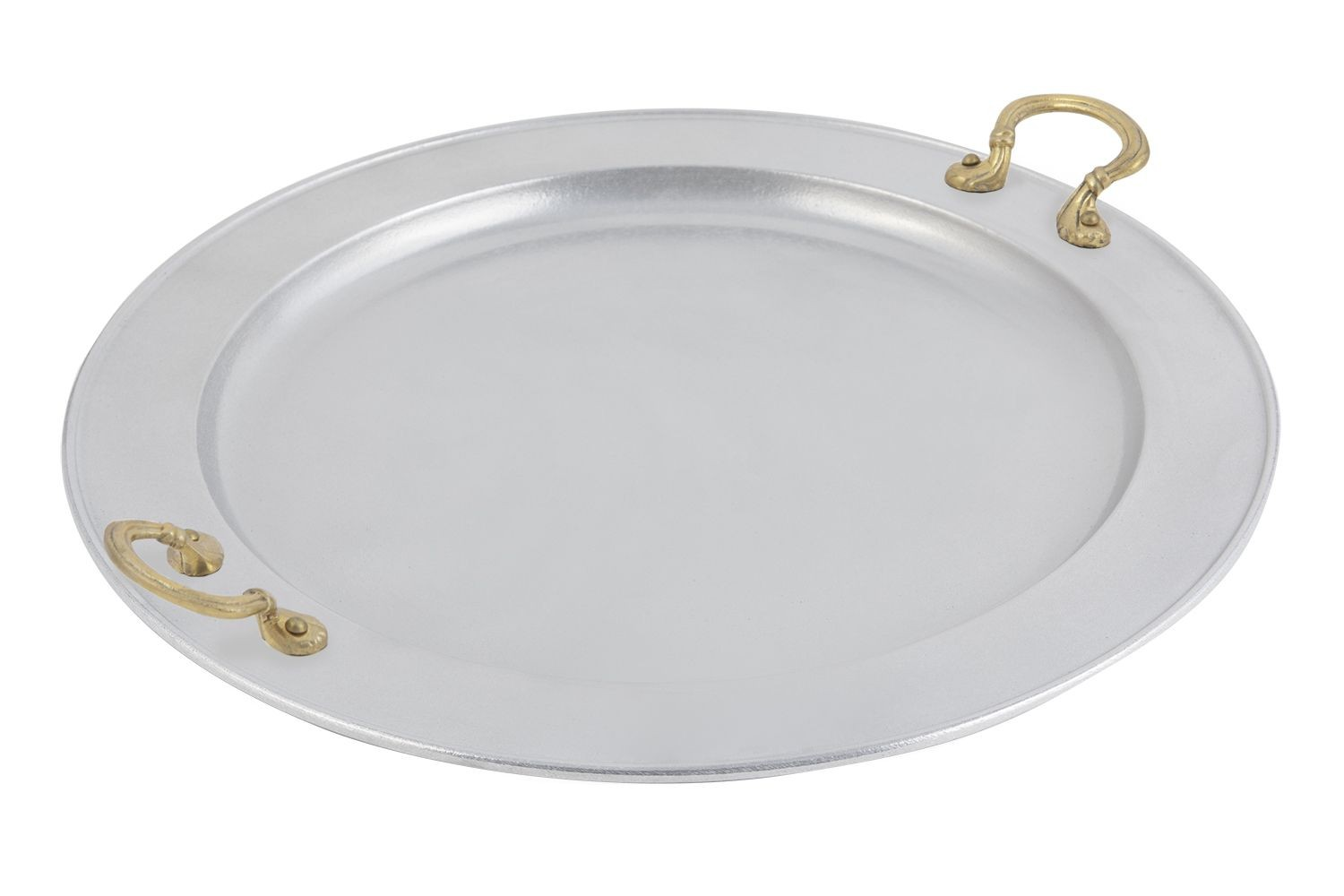 "Bon Chef 2050BH&LP Round Serving Tray with Brass Handles, Pewter Glo 22"" Dia."