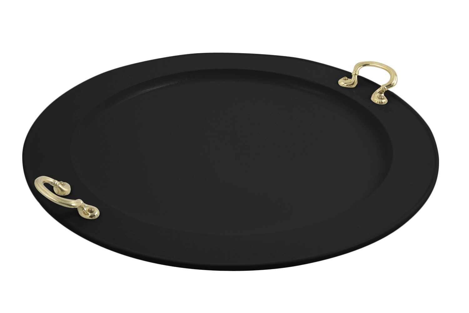 "Bon Chef 2050BH&LS Round Serving Tray with Brass Handles, Sandstone 22"" Dia."
