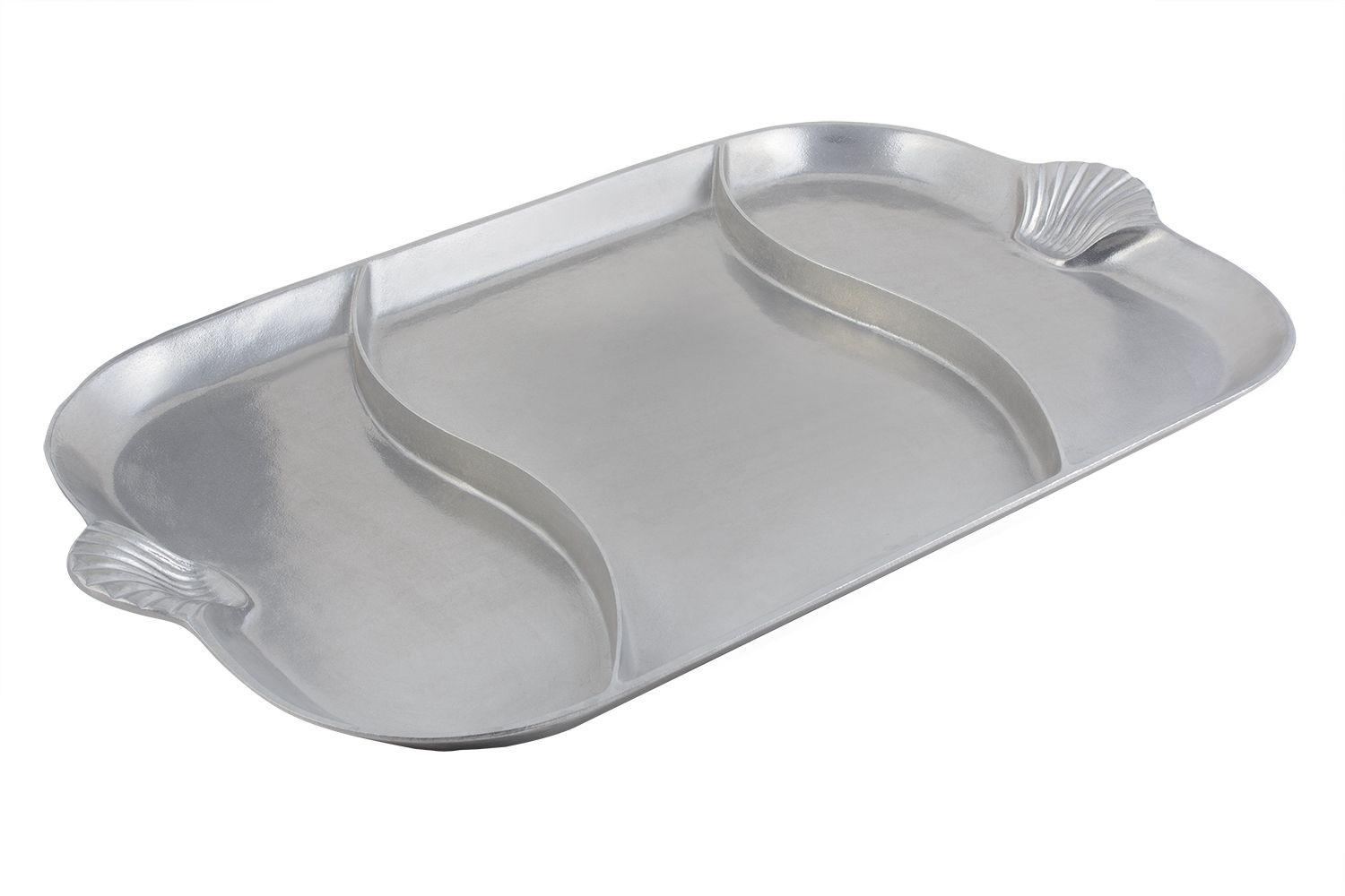 "Bon Chef 2069DP Shell Handle Divided Platter, Pewter Glo 22"" x 32"""