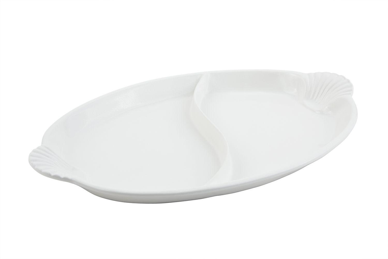 """Bon Chef 2074DP Shell Handle Divided Platter, Pewter Glo 15 1/2"""" x 22 1/2"""""""