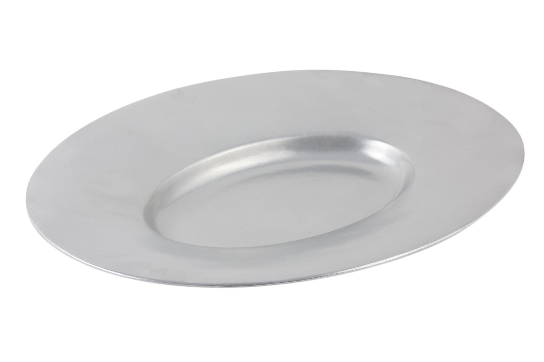 "Bon Chef 2090P Aluminum Wide Rim Platter, Pewter Glo 19 1/2"" x 15 3/4"""