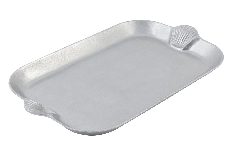 "Bon Chef 2095P Shell Handle Platter, Pewter Glo 15"" x 22"""