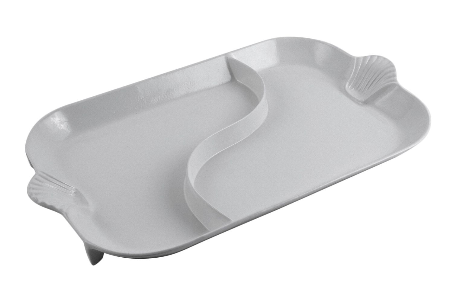 "Bon Chef 2096DP Shell Handle Divided Platter, Pewter Glo 18"" x 26"""