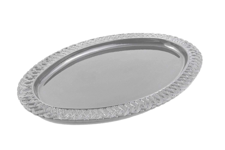 "Bon Chef 2303P Trellis Oval Platter, Pewter Glo 14 1/4"" x 20 1/4"""