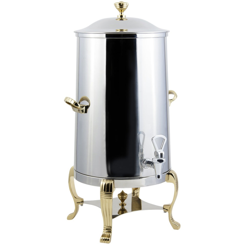 Bon Chef 40003-1-E Aurora Electric Coffee Urn with Brass Trim, 3 Gallon