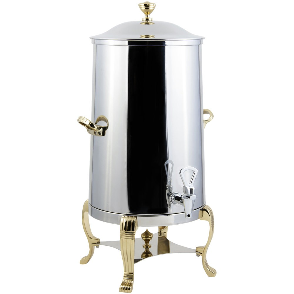 Bon Chef 40005-1-E Aurora Electric Coffee Urn with Brass Trim, 5 Gallon