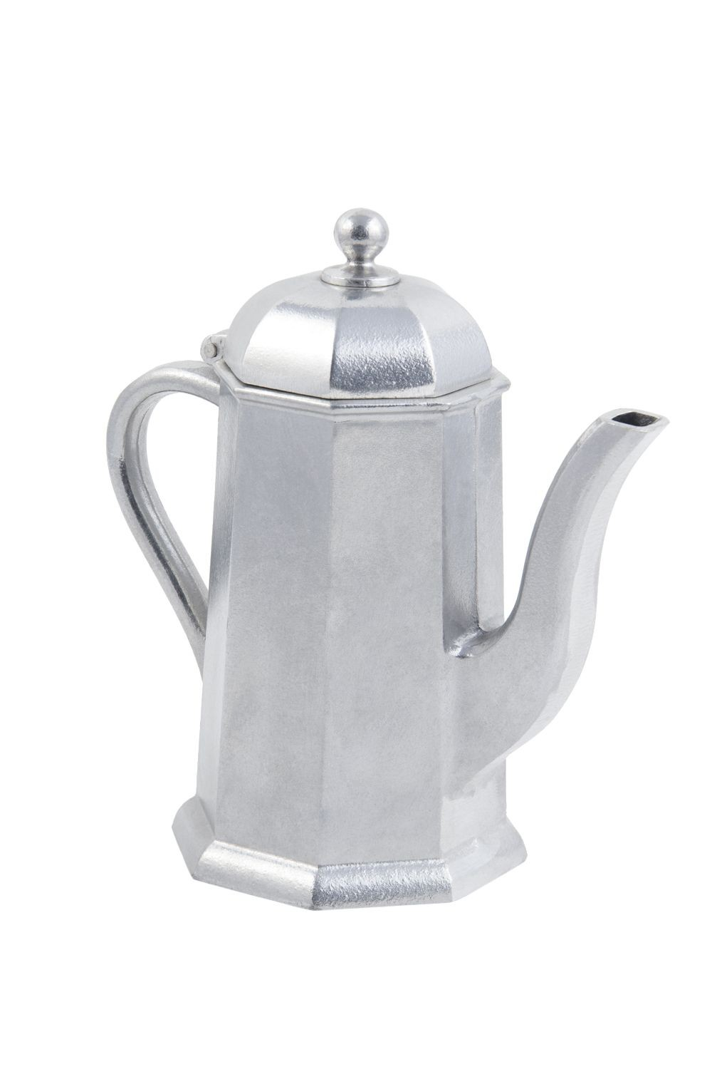 """Bon Chef 4017P Octagonal Coffee Server with Lid and Insulated Handle, Pewter Glo 1 1/4"""" Qt., Set of 6"""
