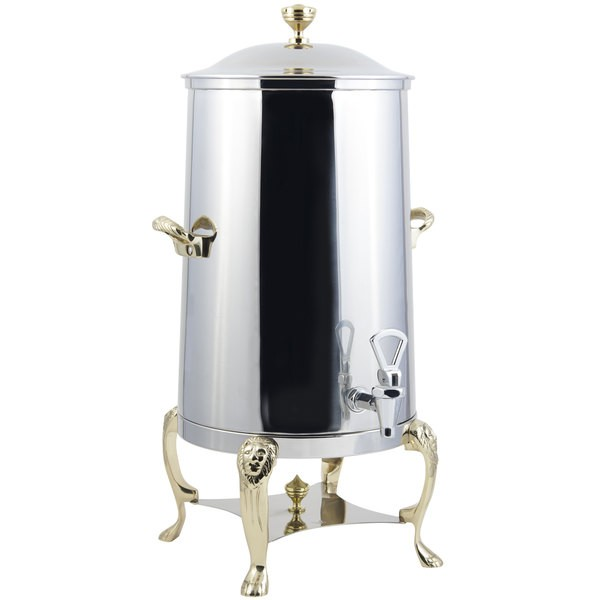 Bon Chef 48001-1-E Lion Electric Coffee Urn with Brass Trim, 1 1/2 Gallon