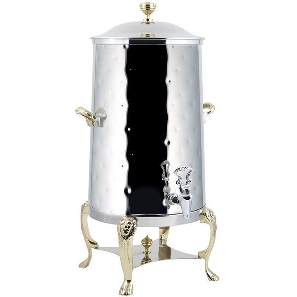 Bon Chef 48001-H-E Lion Electric Coffee Urn with Brass Trim and Hammered Finish, 1 1/2 Gallon