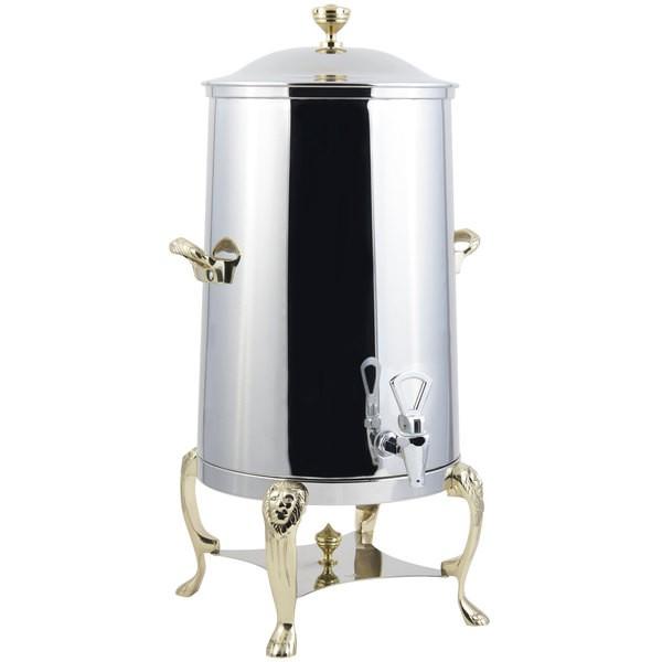 Bon Chef 48005-1-E Lion Electric Coffee Urn with Brass Trim, 5 Gallon