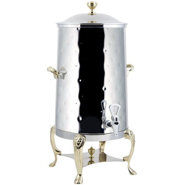 Bon Chef 48005-1-H Lion Insulated Coffee Urn with Brass Trim, Hammered Finish, 5 Gallon