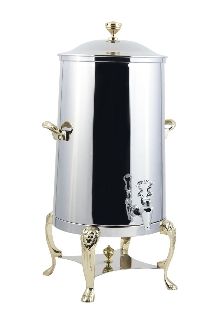 Bon Chef 48005-1 Lion Insulated Coffee Urn with Brass Trim, 5 Gallon