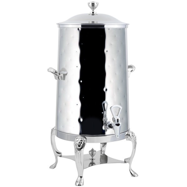 Bon Chef 48005-1C-H Lion Insulated Coffee Urn with Chrome Trim, Hammered Finish, 5 Gallon