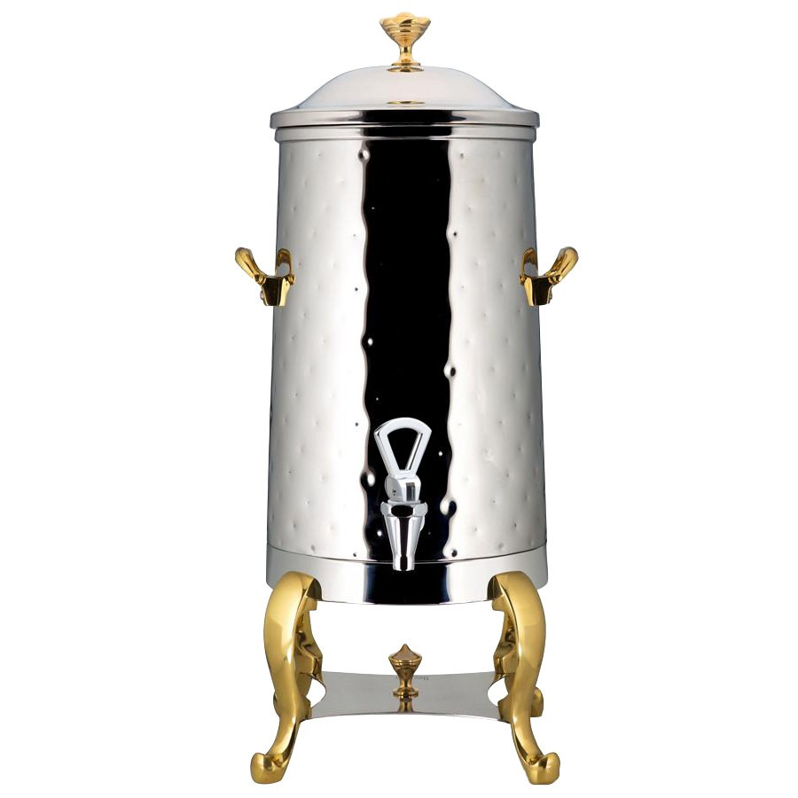 Bon Chef 49003-1-H Roman Insulated Coffee Urn with Brass Trim, Hammered Finish, 3 Gallon