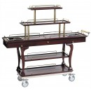 "Bon Chef 50060 Mahogany 5-Tier Dessert Cart with Brass Handles, 62"" x 19 1/2"" x 44 1/2"""