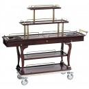 "Bon Chef 50060 Mahogany 5-Tier Dessert Cart with Brass Handles, 62"" x 19 1/2"" x 44 1/2"""