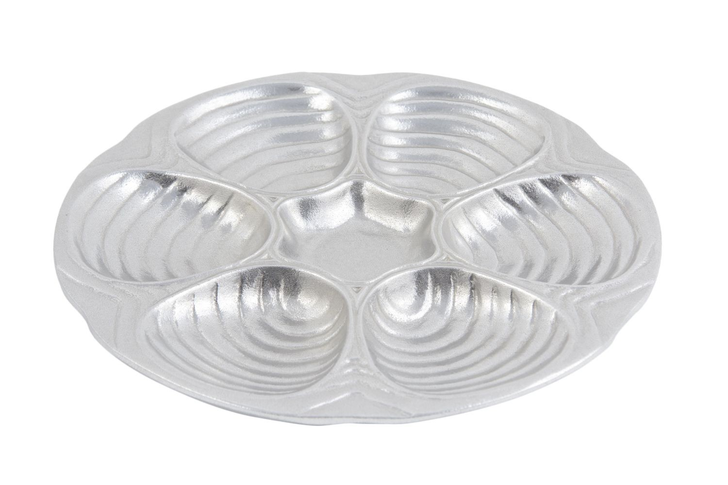 "Bon Chef 5017P 6-Hole Oyster and Clam Plate, Pewter Glo 10 1/2"" Dia., Set of 3"