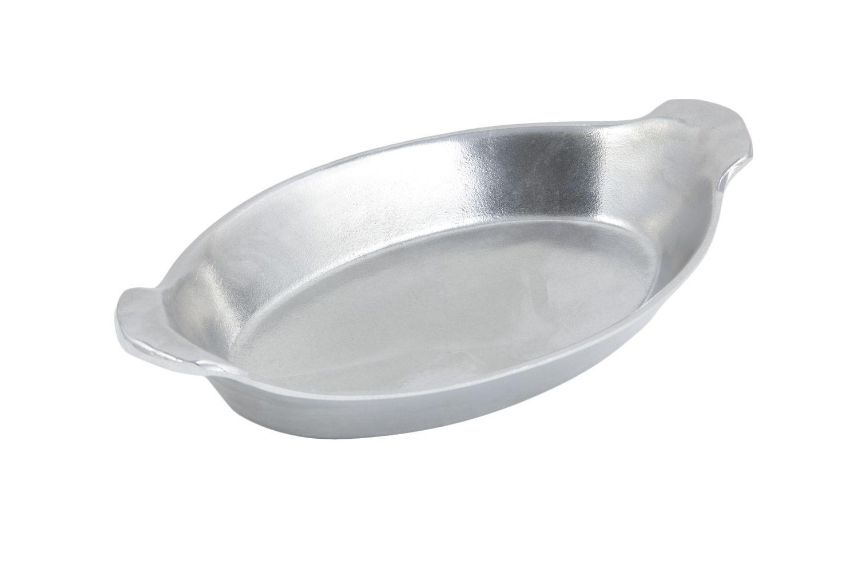 "Bon Chef 5023P Oval Au Gratin Dish, Pewter Glo 6 3/4"" x 11 1/2"", Set of 3"