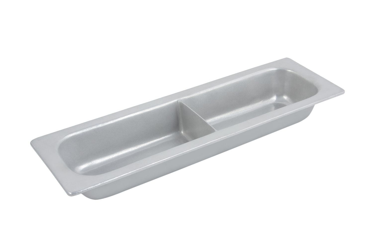 Bon Chef 5094DP Half-Size Long Chafer Food Pan with Divider, Pewter Glo 3 1/2 Qt.