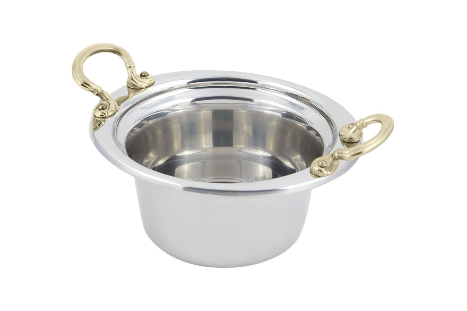 Bon Chef 5250HR Plain Design Casserole Dish with Round Brass Handles, 2 Qt.