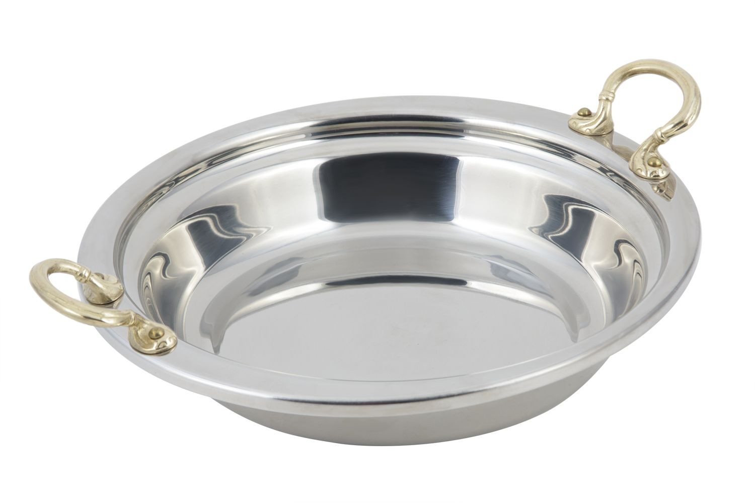 Bon Chef 5255HR Plain Design Casserole Dish with Round Brass Handles, 2 1/2 Qt.