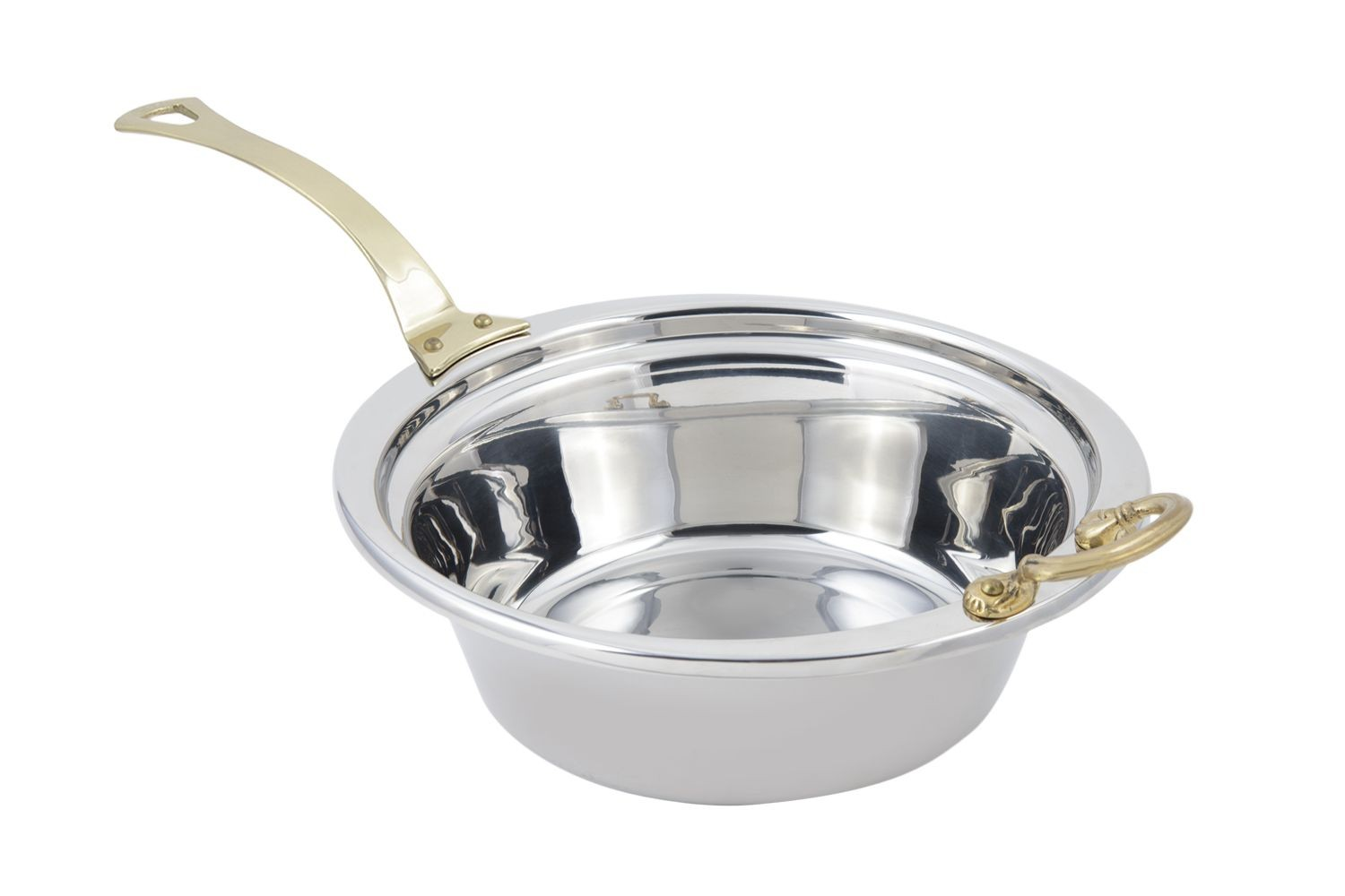 Bon Chef 5256HL Plain Design Casserole Dish with Long Brass Handle, 4 Qt.