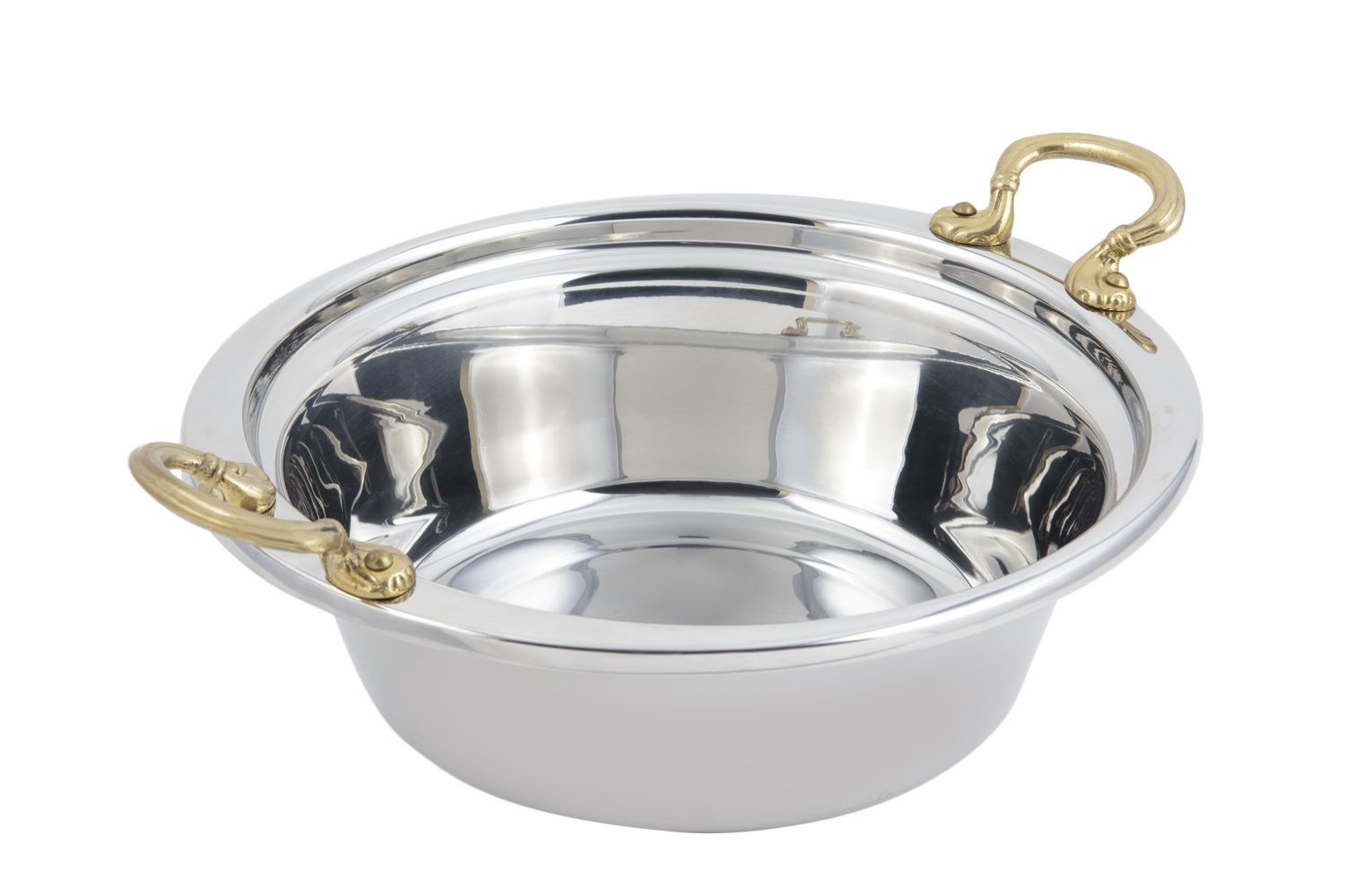 Bon Chef 5256HR Plain Design Casserole Dish with Round Brass Handles, 4 Qt.