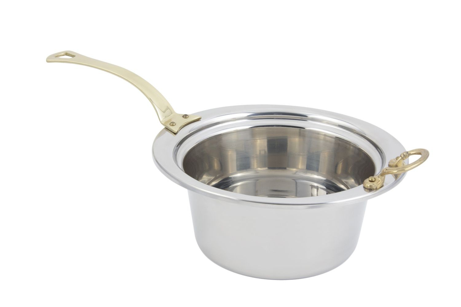 Bon Chef 5260HL Plain Design Casserole Dish with Long Brass Handle, 5 Qt.