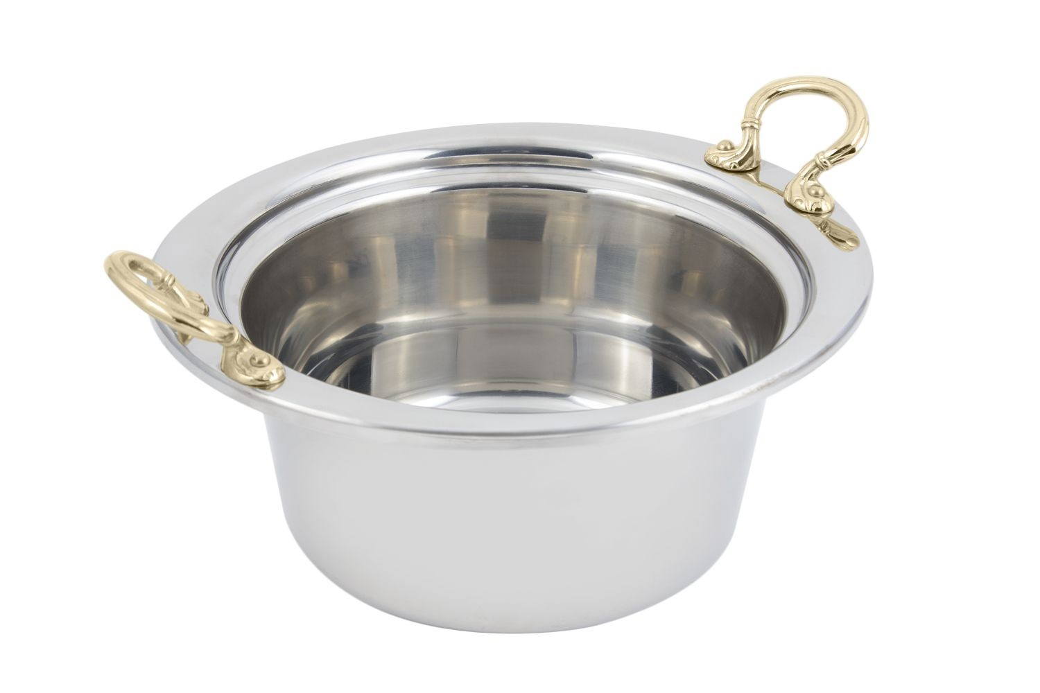 Bon Chef 5260HR Plain Design Casserole Dish with Round Brass Handles, 5 Qt.