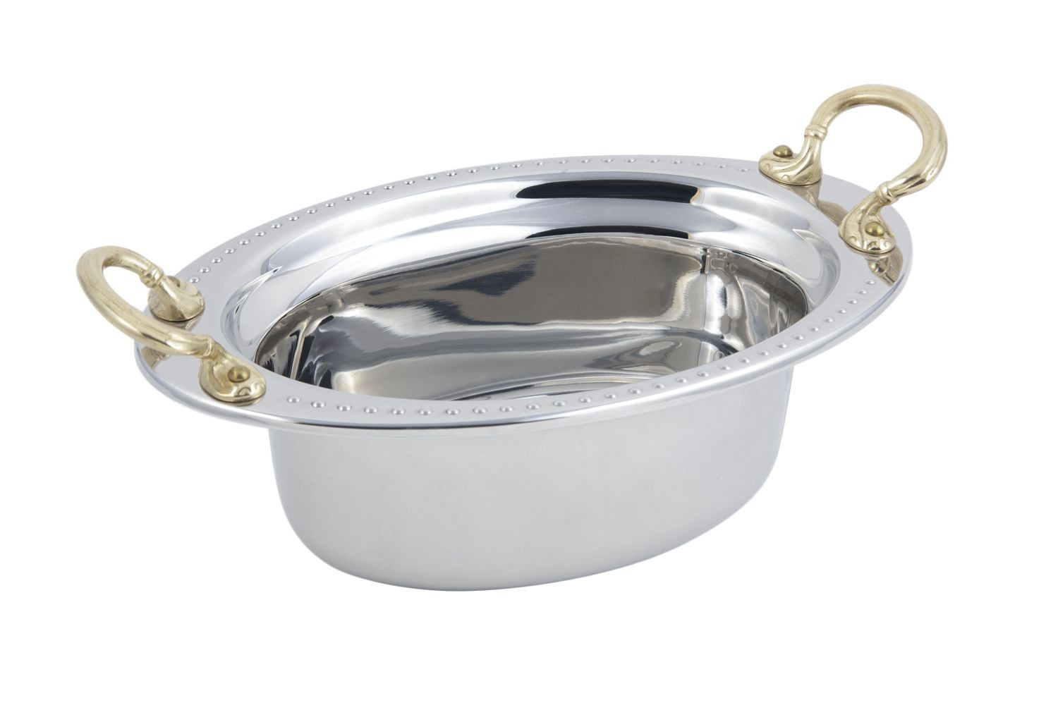 Bon Chef 5303HR Bolero Design Oval Food Pan with Round Brass Handles, 3 3/4 Qt.
