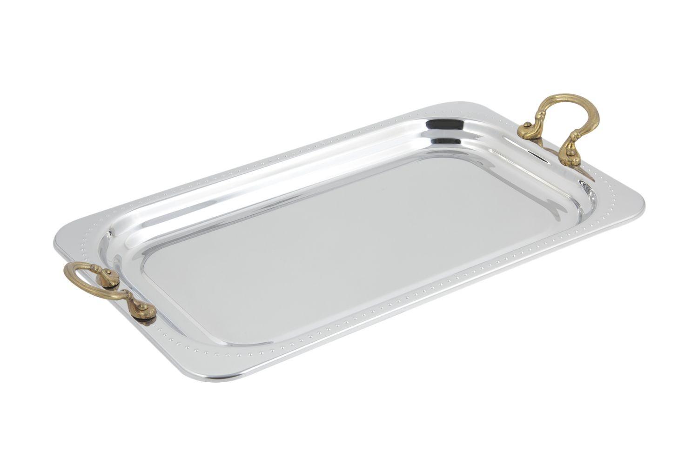 Bon Chef 5307HR Bolero Design Rectangular Full-Size Food Pan with Round Brass Handles, 4 1/2 Qt.