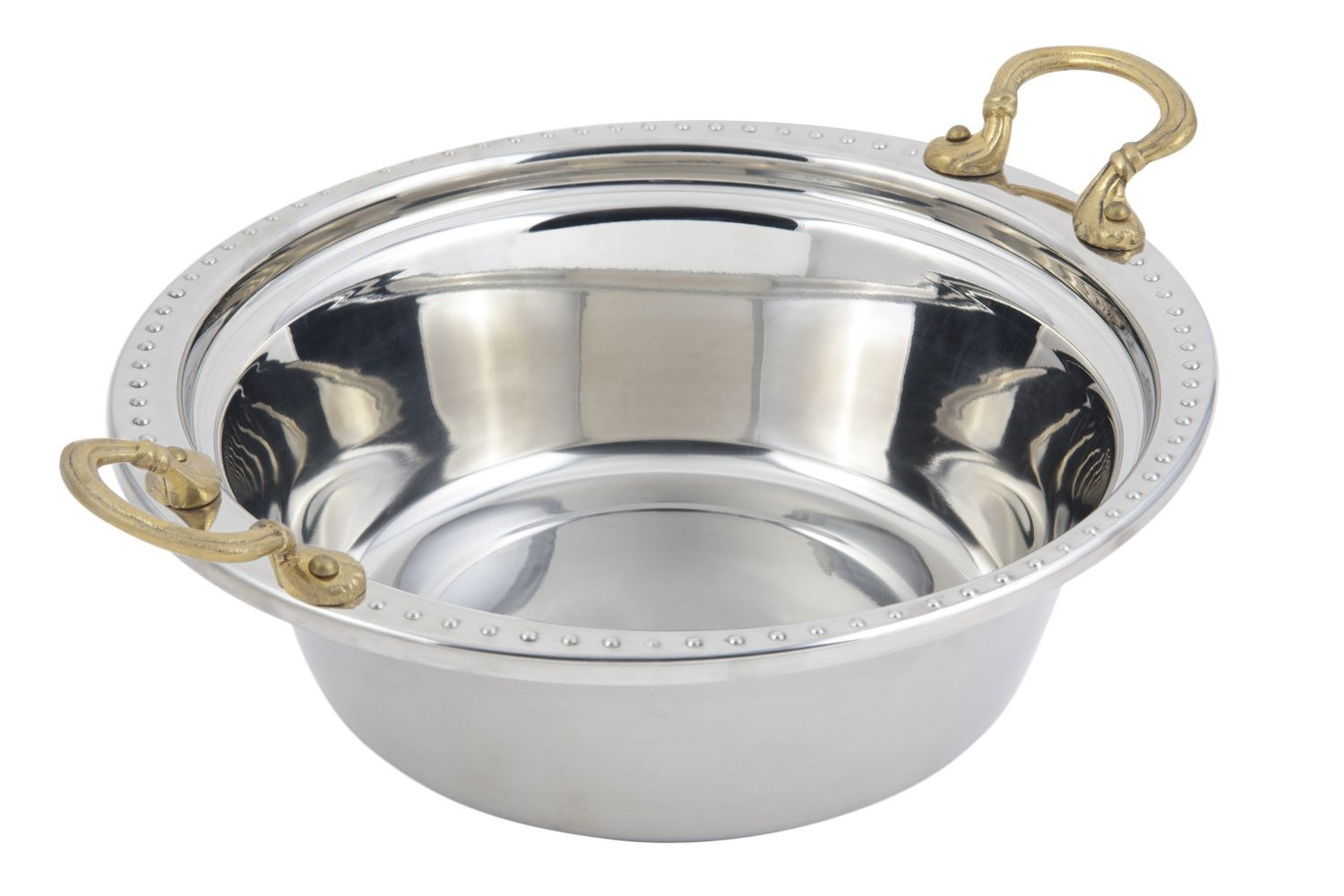 Bon Chef 5356HR Bolero Design Casserole Dish with Round Brass Handles, 4 Qt.