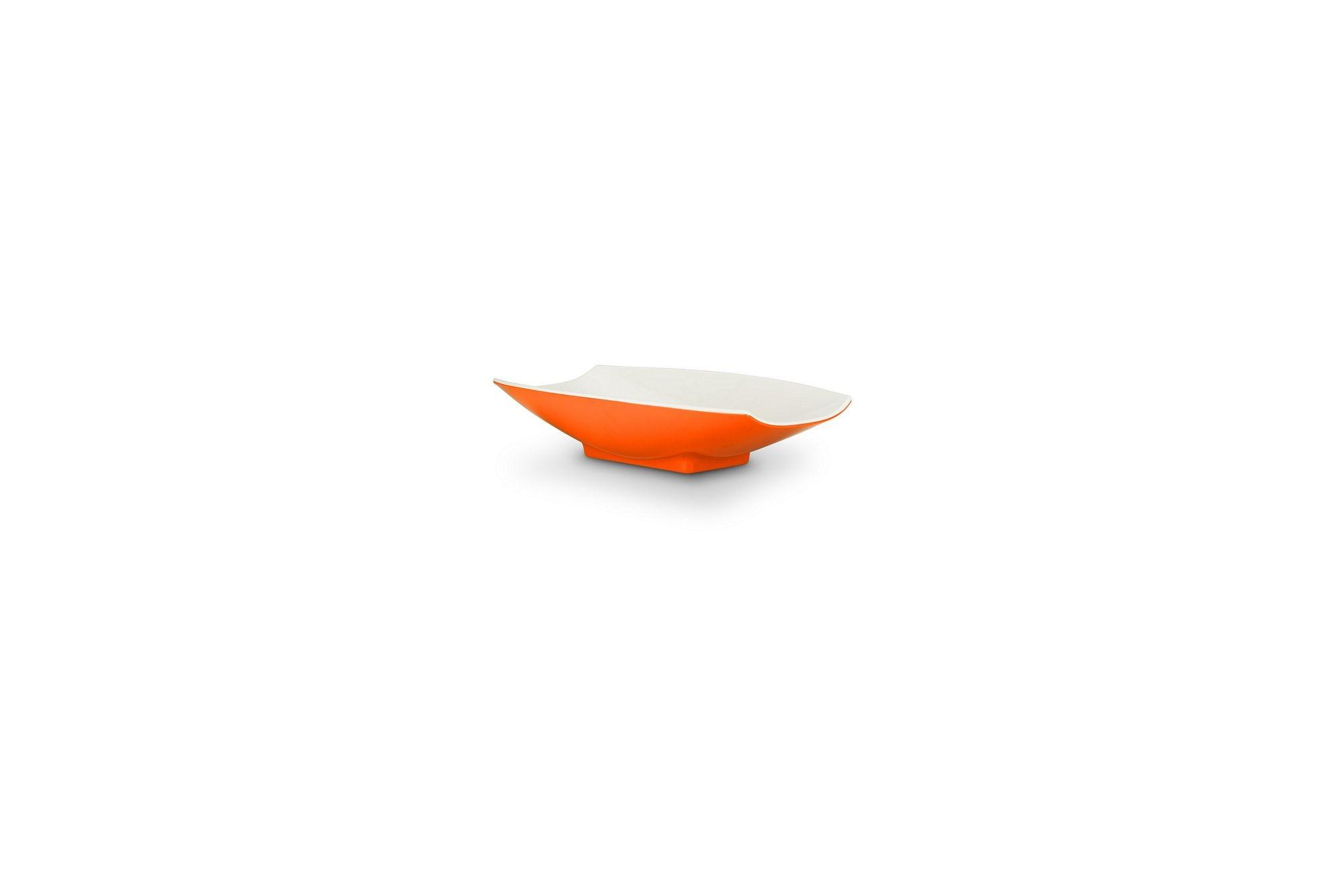 Bon Chef 53700-2ToneOrange Melamine Curves Bowl, Orange Outside/White Inside 4 oz.