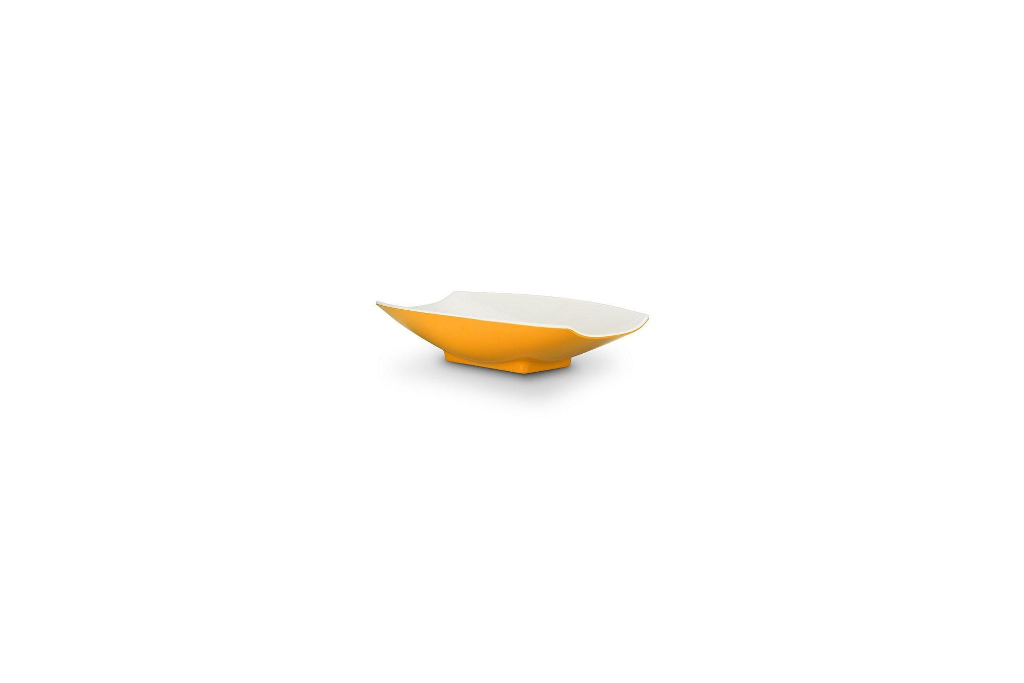 Bon Chef 53700-2ToneYellow Melamine Curves Bowl, Yellow Outside/White Inside 4 oz.