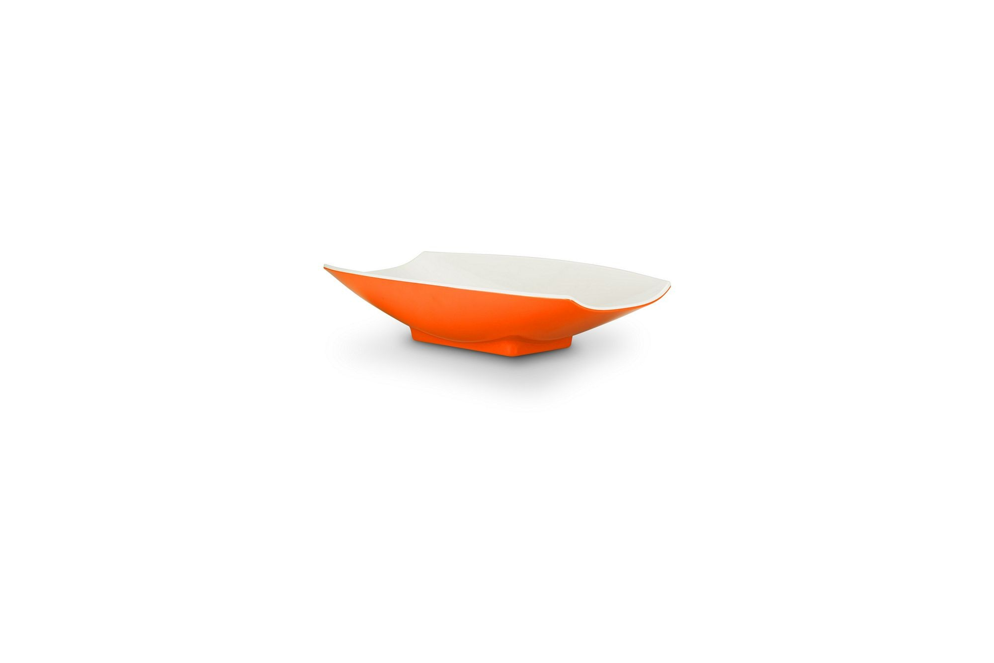 Bon Chef 53701-2ToneOrange Melamine Curves Bowl, Orange Outside/White Inside 8 oz.