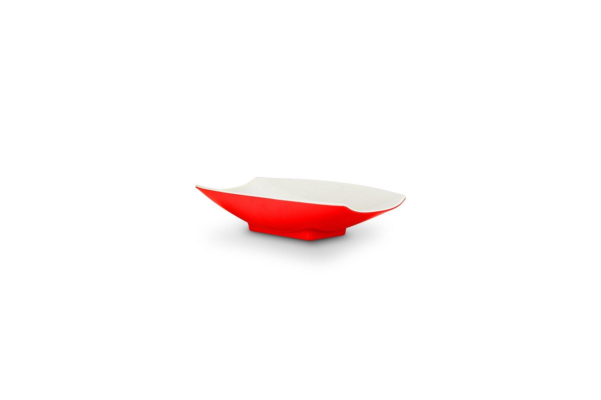 Bon Chef 53701-2ToneRed Melamine Curves Bowl, Red Outside/White Inside 8 oz.