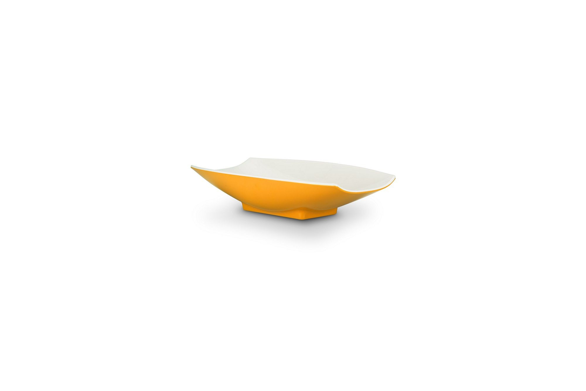 Bon Chef 53701-2ToneYellow Melamine Curves Bowl, Yellow Outside/White Inside 8 oz.
