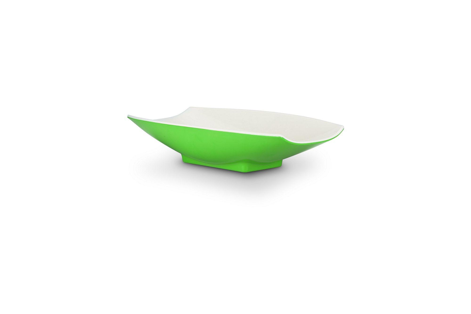 Bon Chef 53702-2ToneLime Melamine Curves Bowl, Lime Outside/White Inside 24 oz.