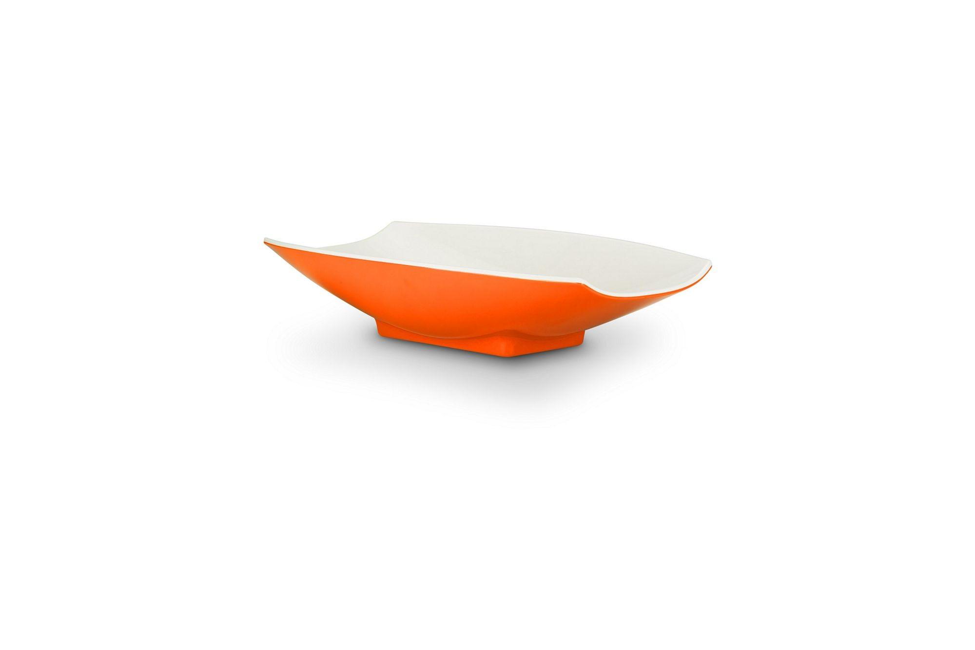 Bon Chef 53702-2ToneOrange Melamine Curves Bowl, Orange Outside/White Inside 24 oz.