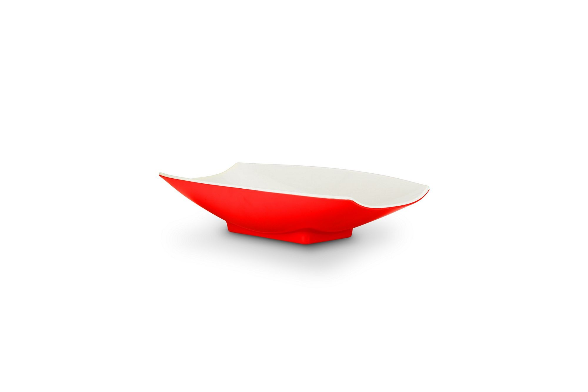 Bon Chef 53702-2ToneRed Melamine Curves Bowl, Red Outside/White Inside 24 oz.
