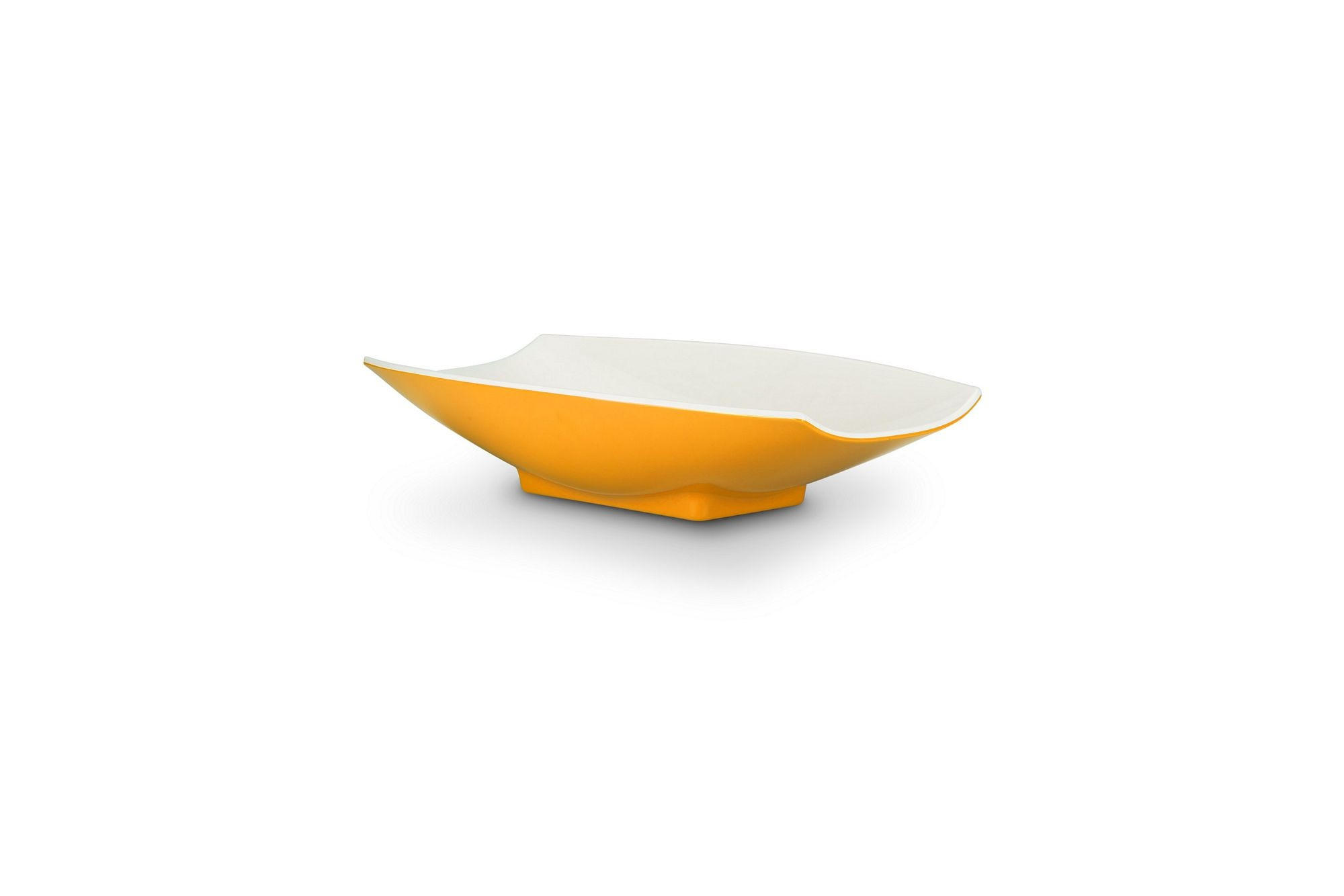 Bon Chef 53702-2ToneYellow Melamine Curves Bowl, Yellow Outside/White Inside 24 oz.
